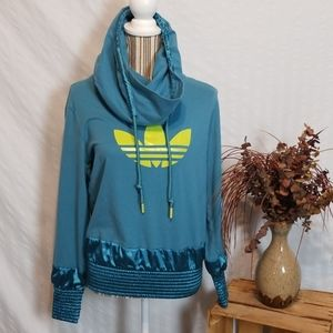 Adidas Blue Hoodie/Cowlneck with Logo